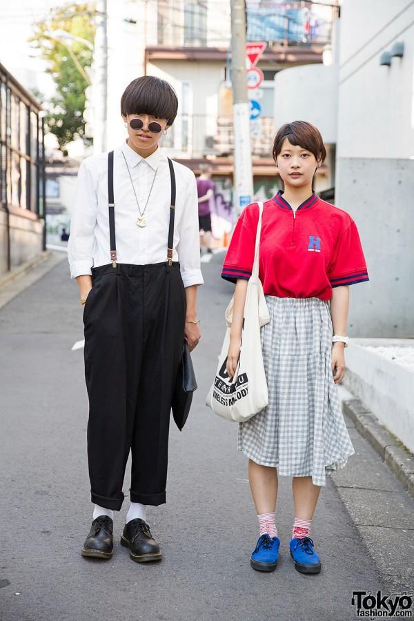 Harajuku Duo w/ Suspenders, Dr. Martens, N'Shukugawa BOYS Tote & Tommy