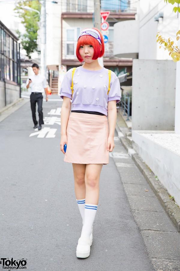 Daisies Top, Orange Bob Hairstyle & Spinns Backpack in Harajuku