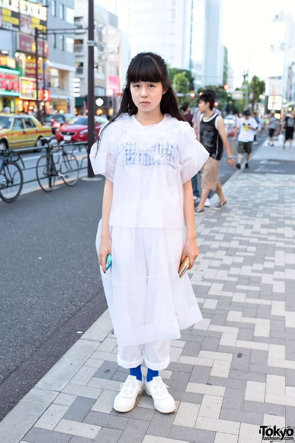 Sheer Outerwear Over White Fashion & Tokyo Bopper Shoes in Harajuku