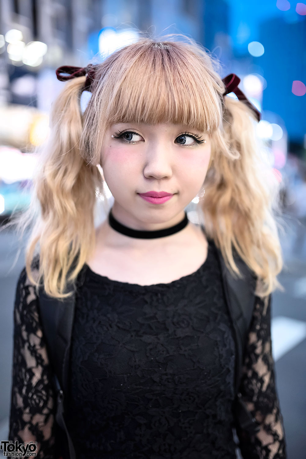 Blonde Twintails, Black Lace, Plaid Skirt & Tokyo Bopper in Harajuku
