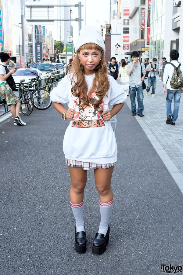 Betty Boop Sweatshirt, Pink Plaid Skirt, Troll & Monchhichi in Harajuku
