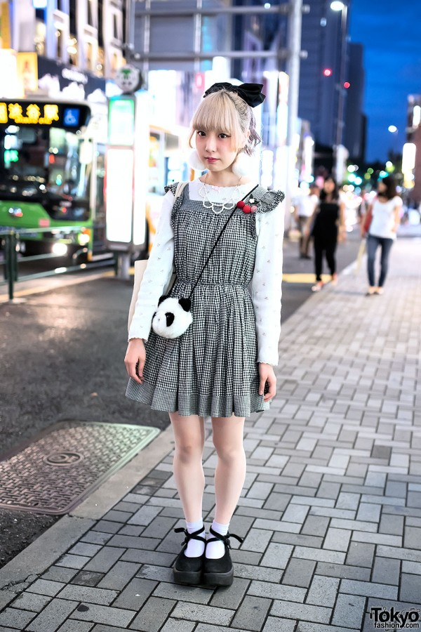 Vintage Gingham Dress in Harajuku