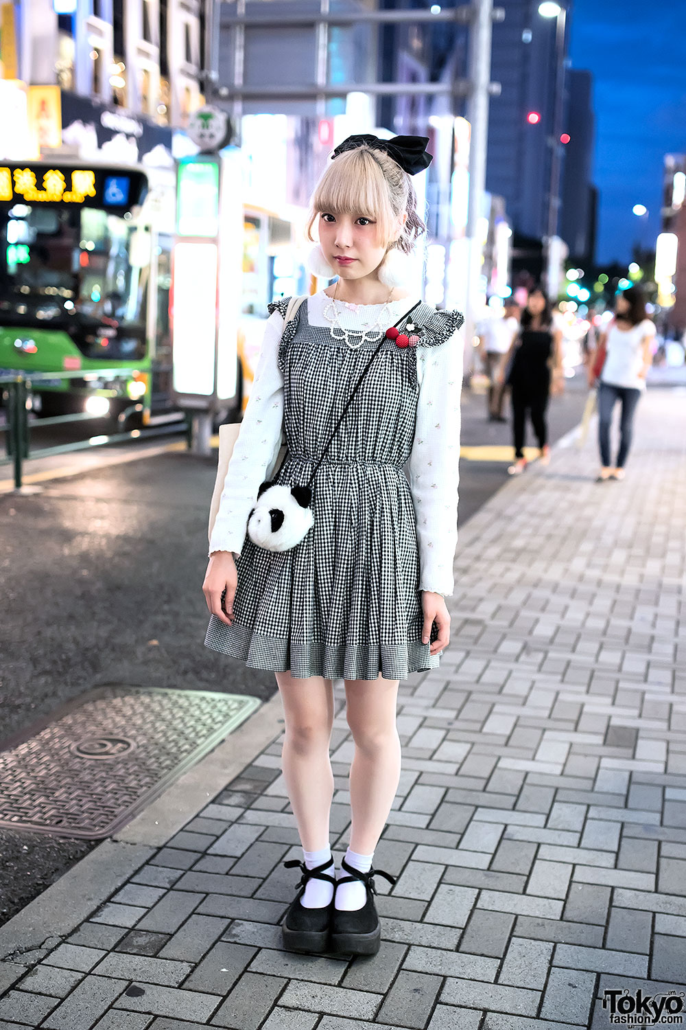 Gingham Dress, Panda Purse, Pom Pom Earrings & Tokyo Bopper in Harajuku