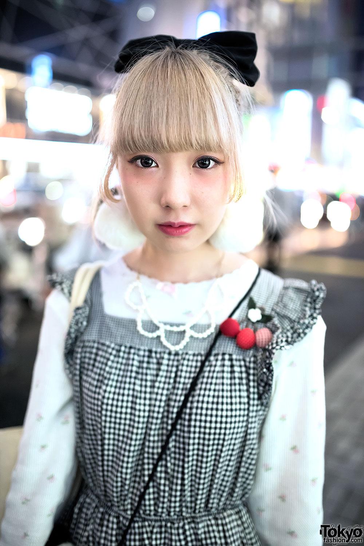 Gingham Dress, Panda Purse, Pom Pom Earrings & Tokyo Bopper in Harajuku