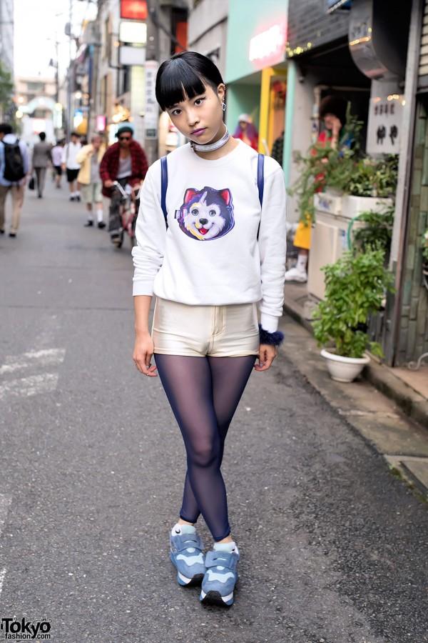 Lisa Frank Dog Sweatshirt, Short Shorts & Velcro Sneakers From Funktique Harajuku