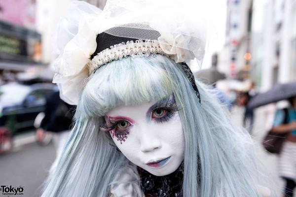 Red & Blue Shironuri Eye Makeup