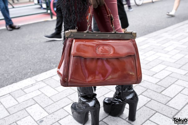 Vintage Red Bag & Patent Leather Boots