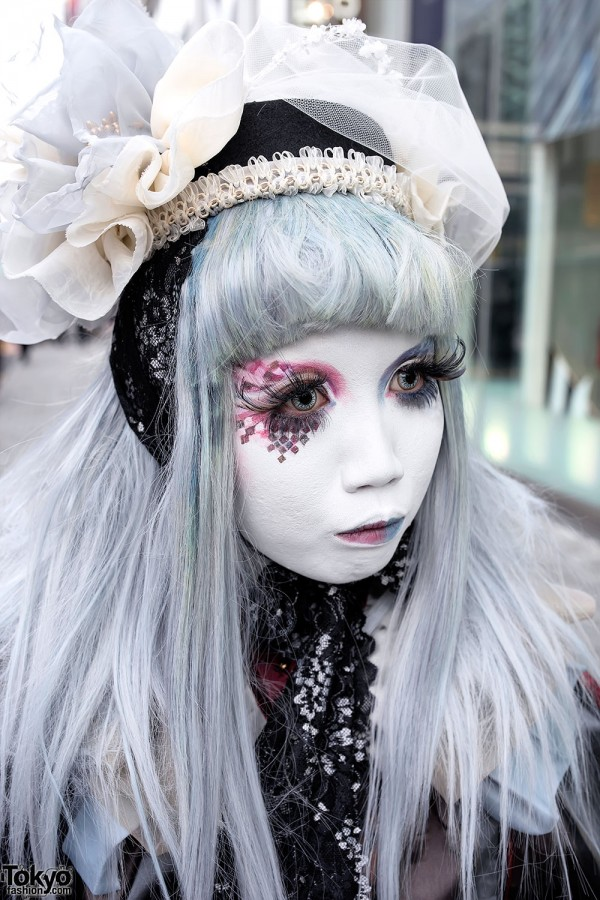 Hand Painted Shironuri Makeup Art in Red & Blue