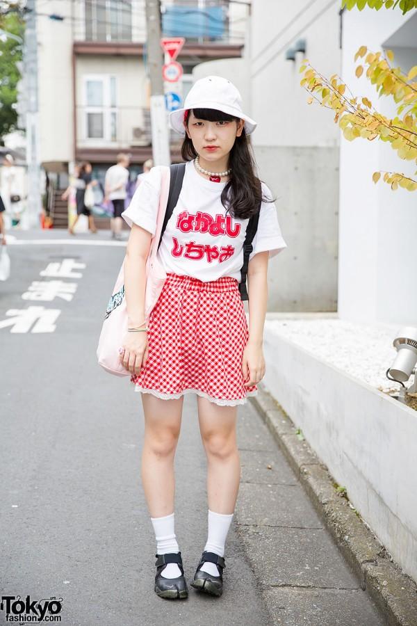 Nakayoshi Shi Chao T-Shirt, Gingham Skirt, Spank! Tote & Tabi Shoes in Harajuku