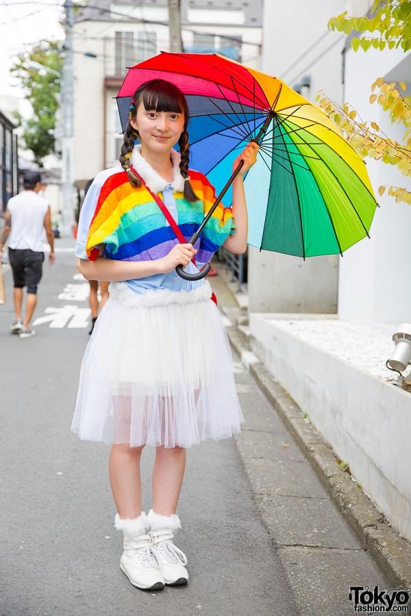 Rainbow Top & Sheer Skirt w/ Panama Boy Accessories in Harajuku