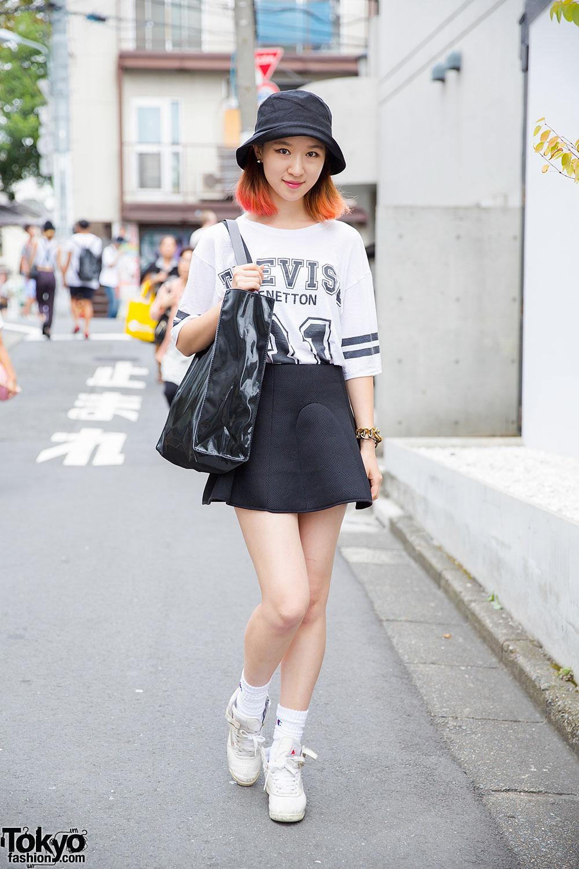 orange skater skirt outfit