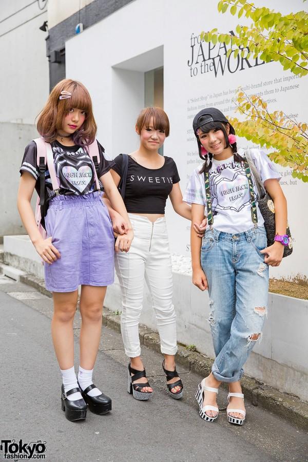Harajuku Girls In Suspenders, Ripped Jeans & Pompoms w/ WEGO, Romantic Standard & Barbie