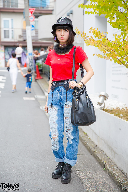 MYOB Bucket Hat, Ripped Jeans & Goocy Tassel Bag in Harajuku