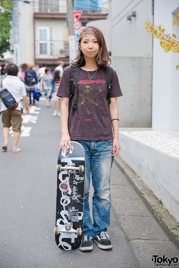 Harajuku Skater Girl w/ The Birthday Tee, Undercover & Vans TNT5 Sneakers