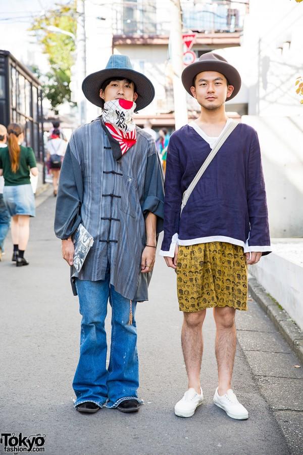 Harajuku Guys in Hats w/ Fashion by Elephant TRIBAL Fabrics, Boy & Feets