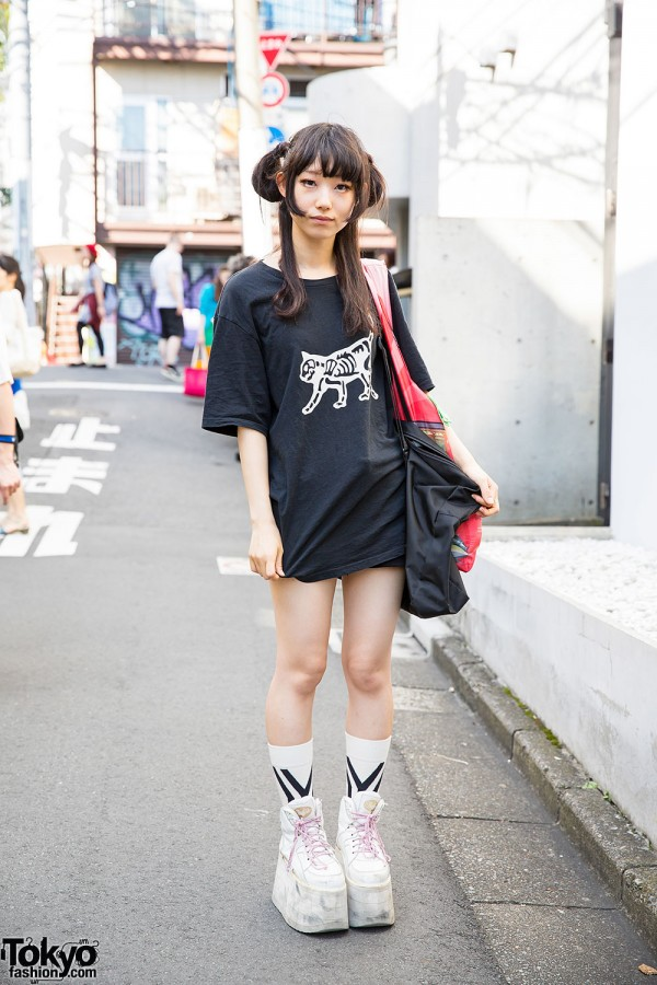 Harajuku Girl w/ Undercover Skeleton Cat T-Shirt & Buffalo Platforms