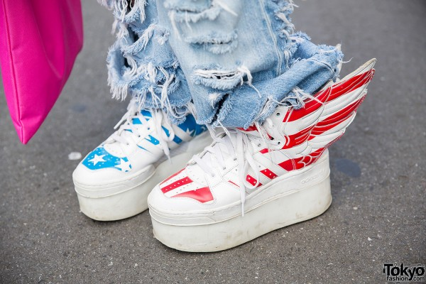 Jeremy Scott Winged American Flag Platform Sneakers