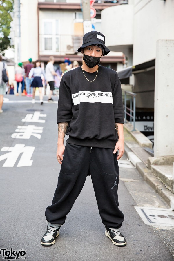 Harajuku Guy in M.Y.O.B NYC, Oz Abstract Tokyo & Nike Fashion
