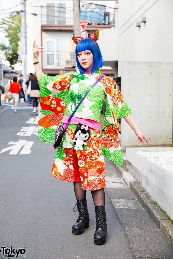 DJ Bazookistan in Takuya Angel Outfit w/ Blue Hair & Butterfly Headband