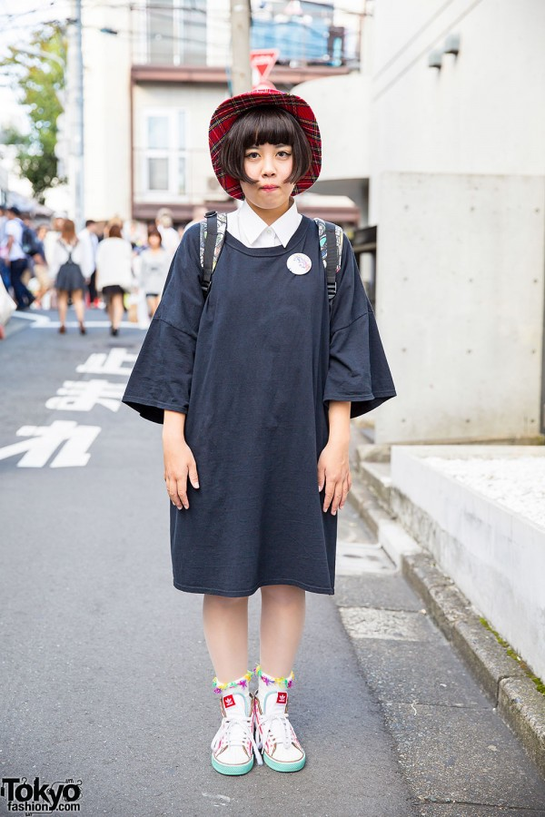 Spinns Oversized Top, Ai Madonna Pin, Plaid Hat & Adidas Sneakers in Harajuku