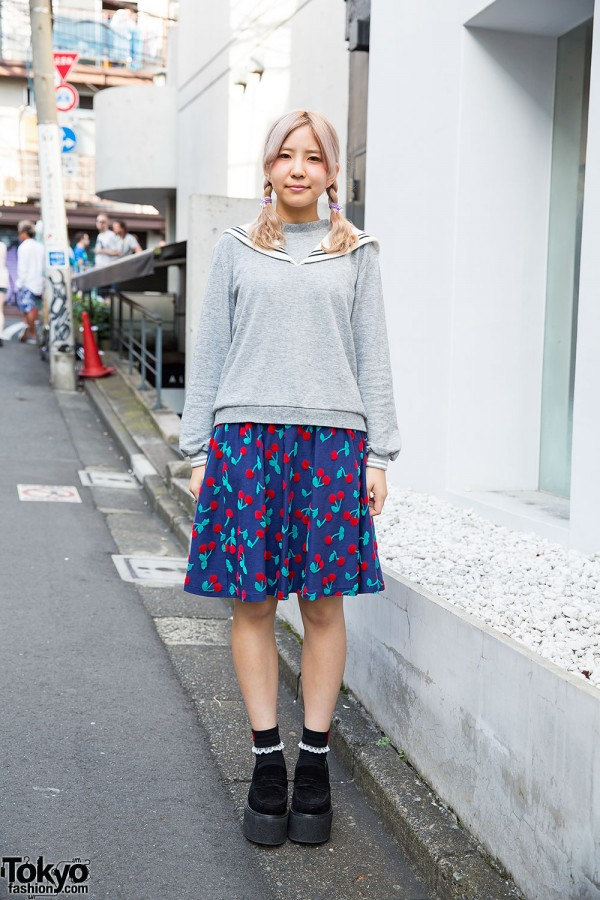 Candy Stripper Sailor Top & Cherry Print Skirt w/ Platform Loafers in Harajuku