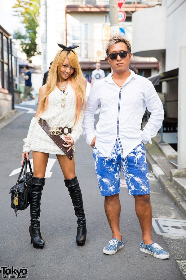 d.i.a. Sweater Dress, Knee High Boots, Hysteric Glamour & Justin Davis in Harajuku