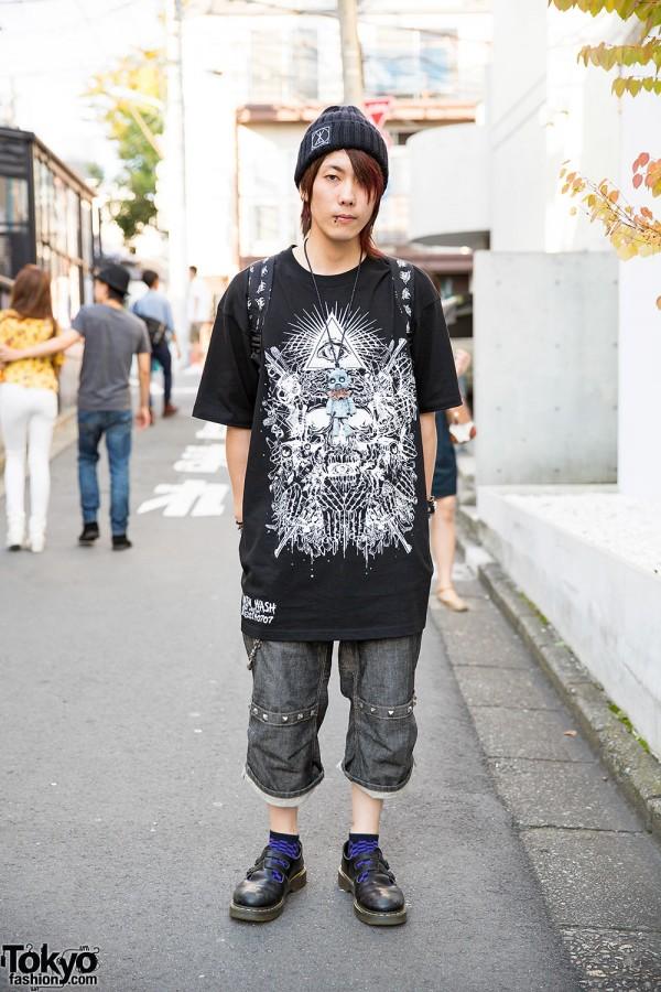 "Gazette Fan in Harajuku w/ ""Eye of Providence"" T-Shirt, Creepy Doll & Evil Clown"