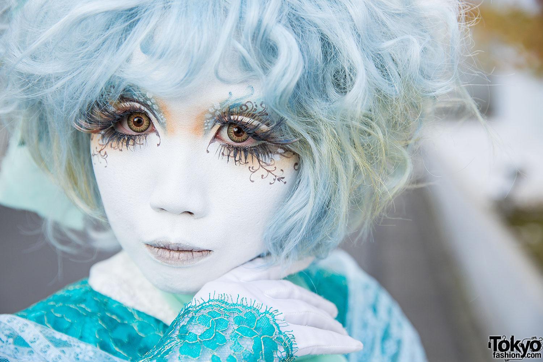 Shironuri Artist Minori In Baby Blue W Ruffles Amp Lace