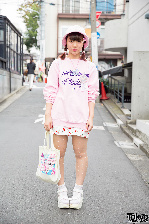 Harajuku Girl in Cute Pink & Cherry Print w/ Yum Yums & Nile Perch