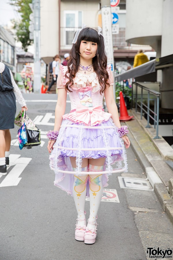 Pastel Harajuku Style W Lace Bird Cage Skirt Magical Girl Knee Socks Corset