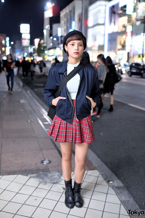 Harajuku Girl In Wego Plaid Skirt Bomber Jacket Ribbed Sweater
