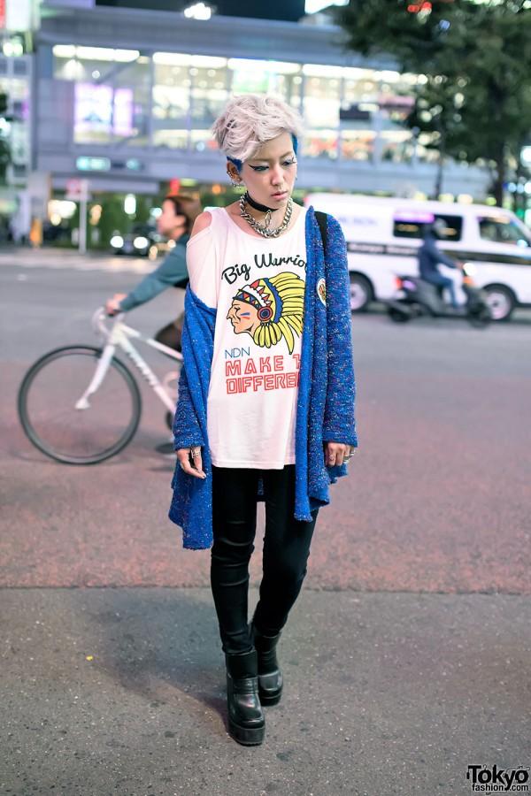 Blue Shaved Hair, Piercings & C-Closet Park Fashion in Shibuya