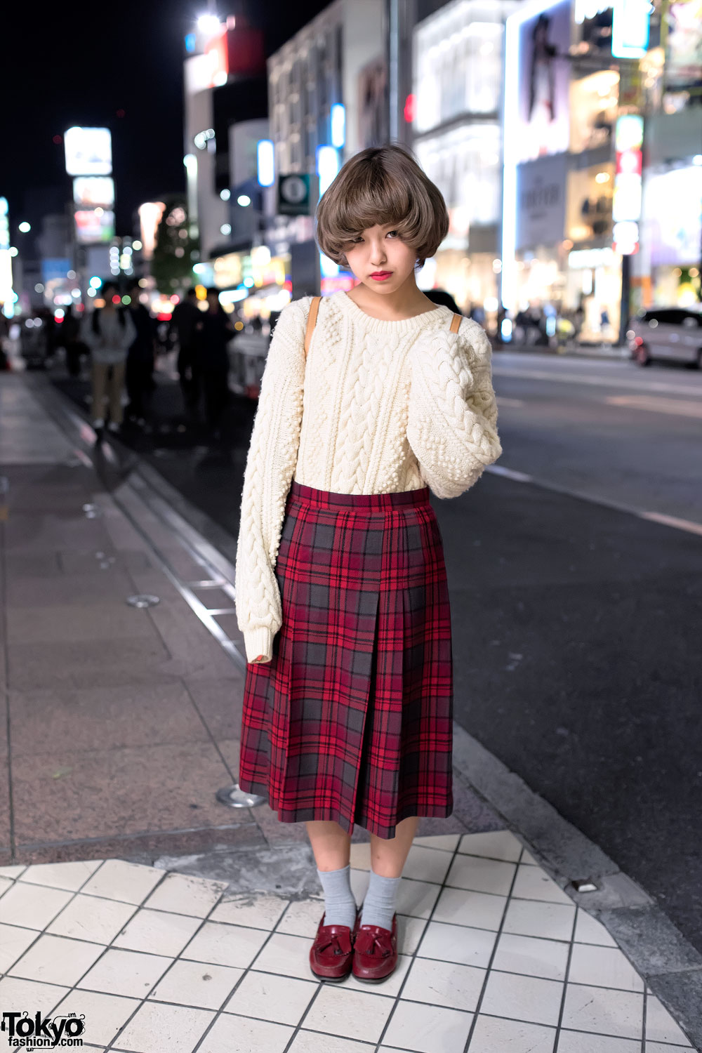 Oversized Cable Knit Sweater Plaid Skirt Loafers In Harajuku