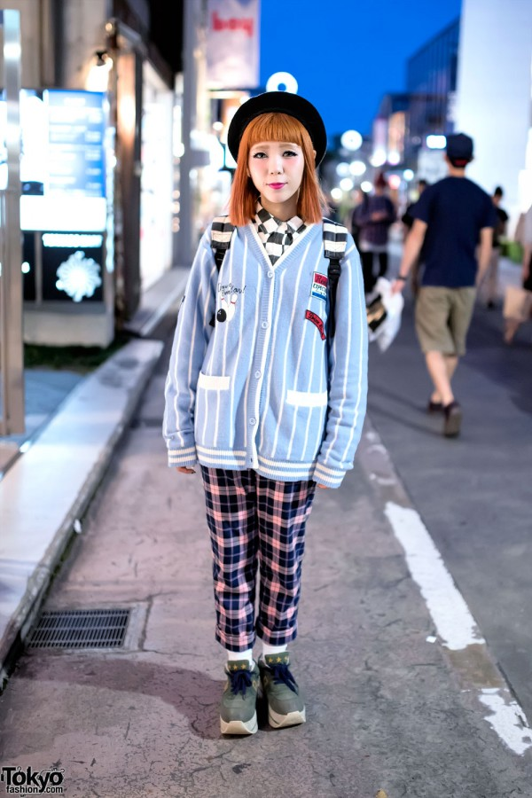 Candy Stripper Beret & Bowling Sweater w/ Plaid Pants on Cat Street