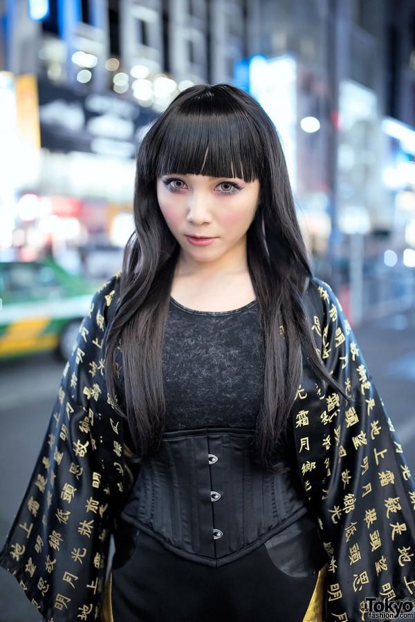 Corset, Black Hair & Kanji Print