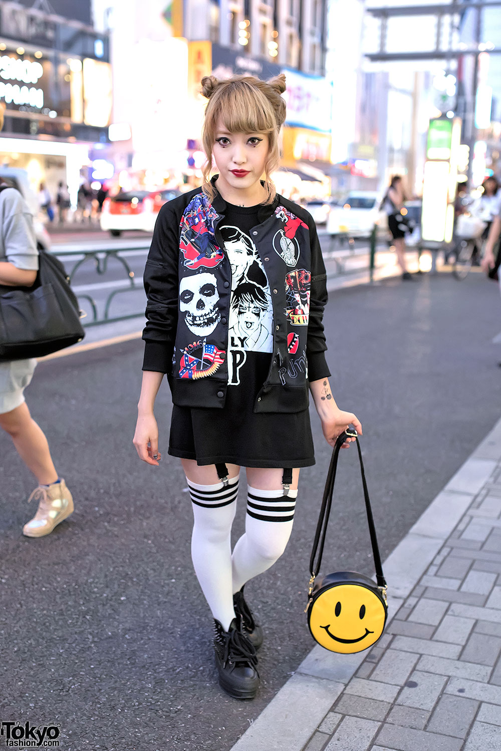 1c47d5ec4a4a Kobinai Punk Bomber, Spiked Sneakers & Smiley Face Purse in Harajuku