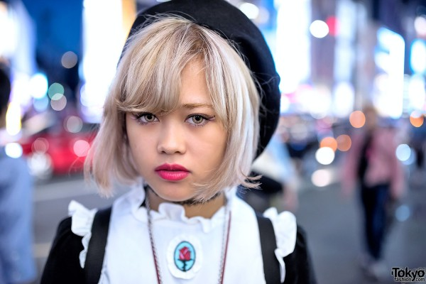 Blonde Hair & Red Lipstick in Harajuku