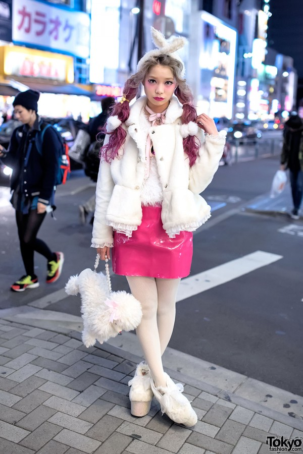 Swankiss Producer's Pink Twin Tails, Furry Jacket, Vinyl Skirt & Poodle Purse