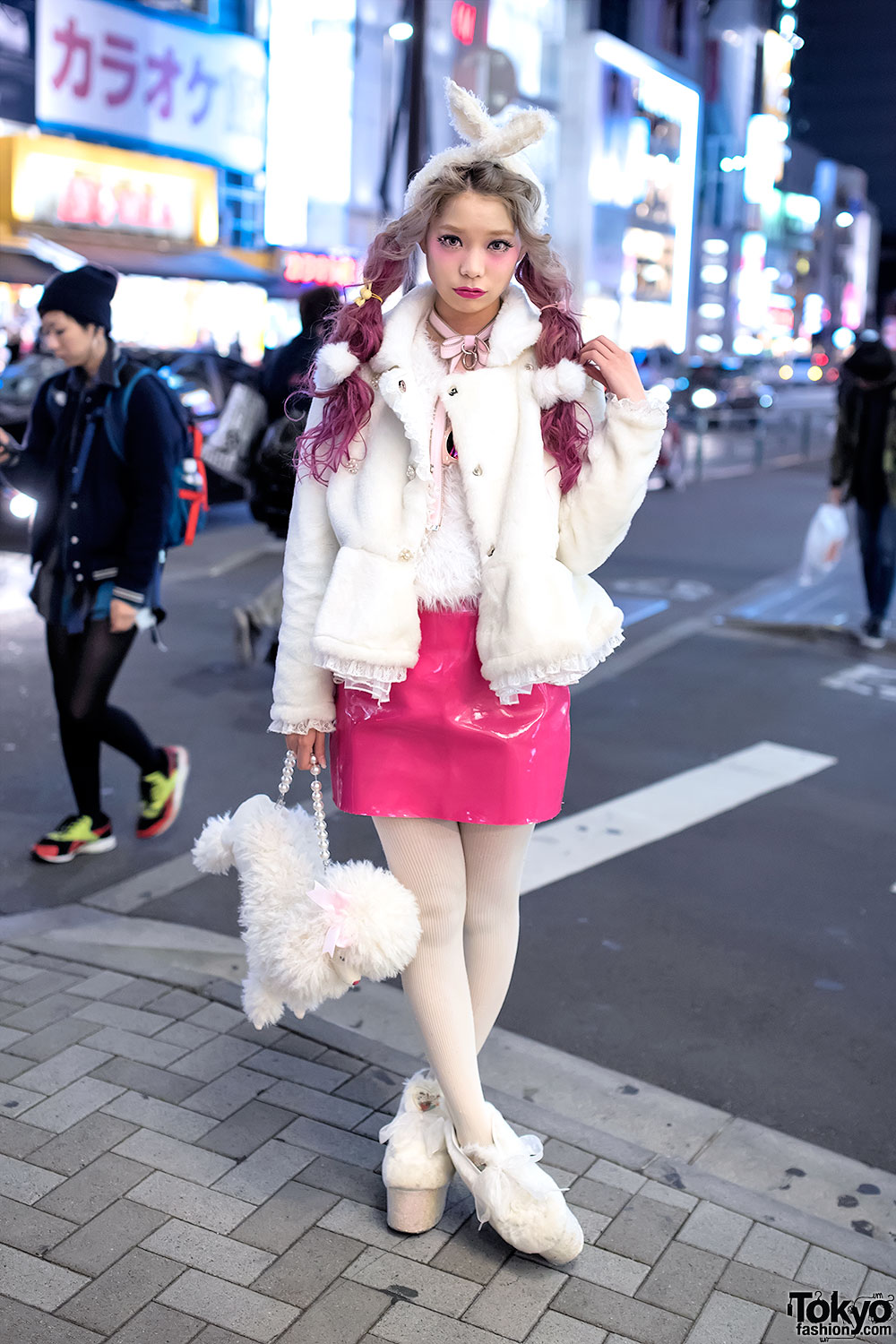 Swankiss Producer's Pink Twin Tails, Furry Jacket, Vinyl Skirt ...