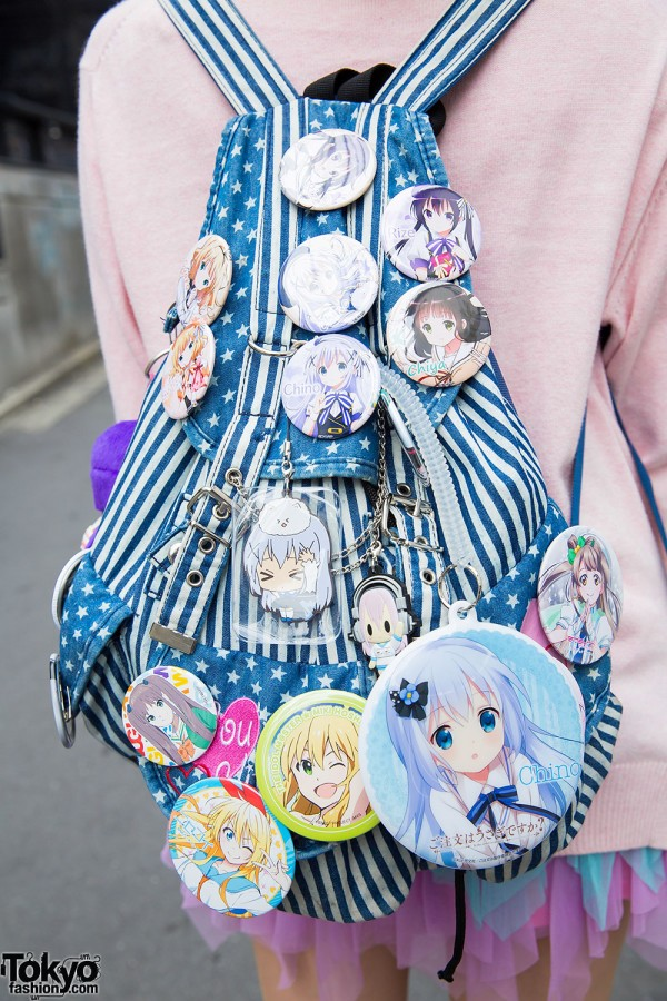 Backpack With Japanese Manga Pins