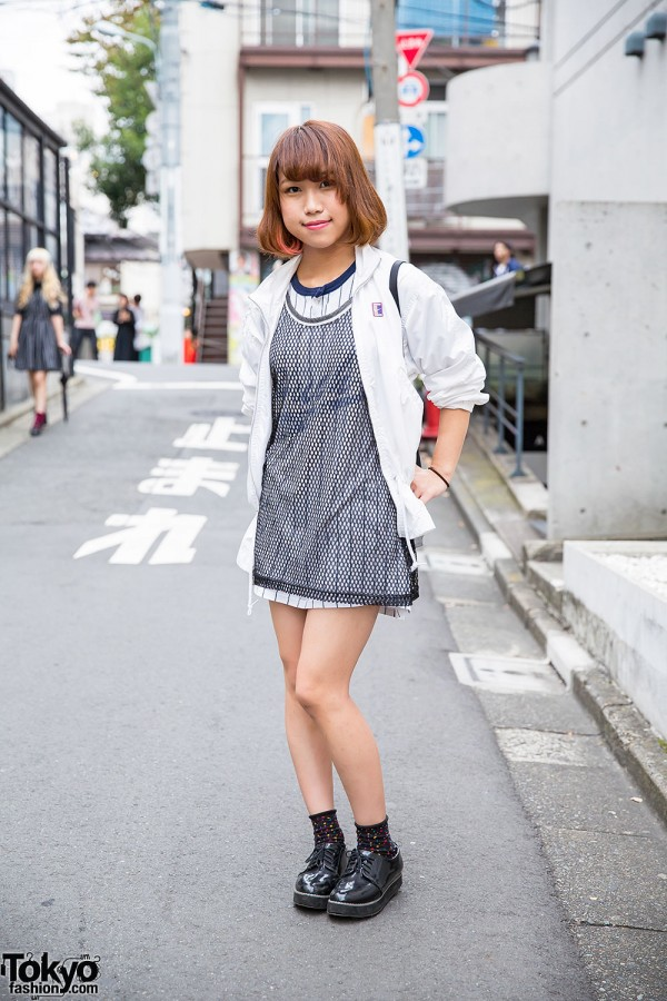 Harajuku Girl in Sporty Chic Look w/ Bob Hairstyle, Nike, Valentino Christy & Global Work