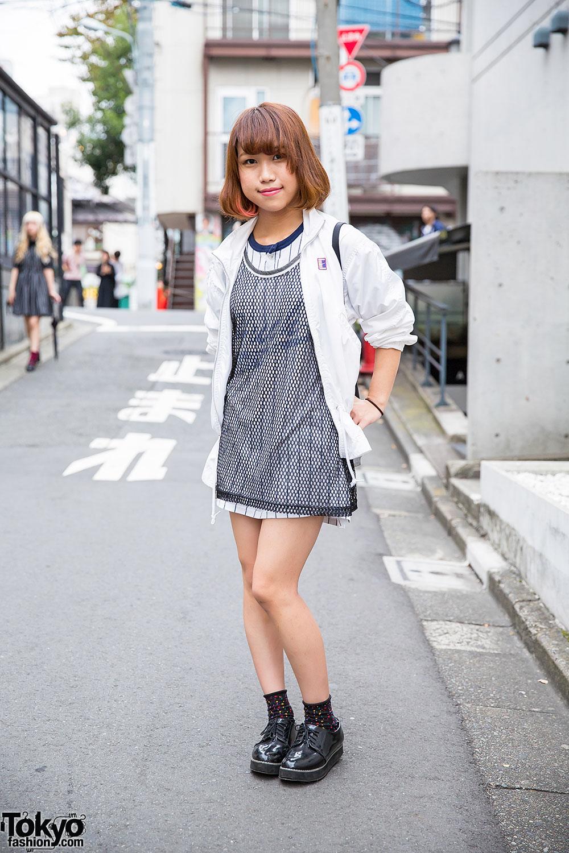 Harajuku Girl In Sporty Chic Look W Bob Hairstyle Nike