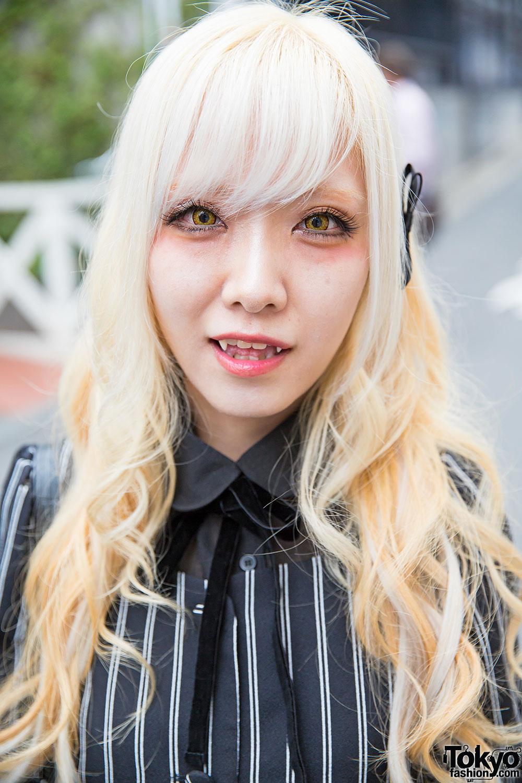 Blonde Harajuku Girl W/ Fangs, Striped Fashion & Justin