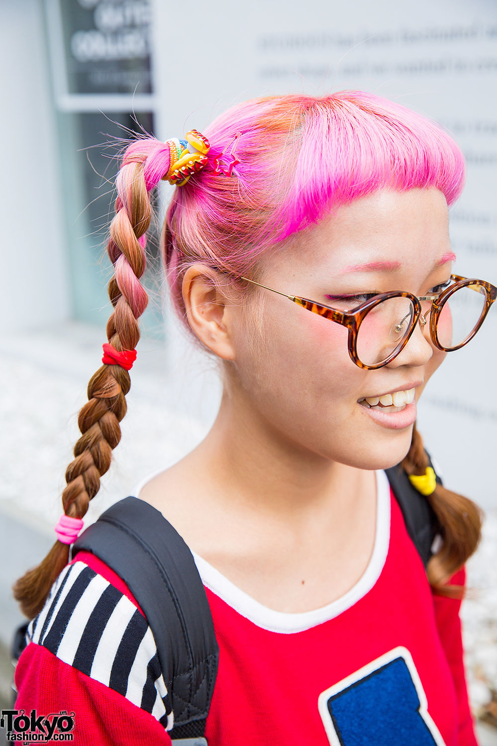 Pink Braids & Glasses w/ Aymmy Top, Plaid Skirt, Spinns