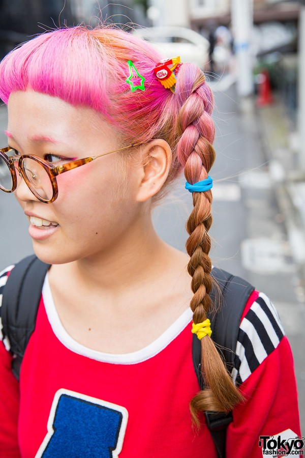 pink braids amp glasses w aymmy top plaid skirt spinns