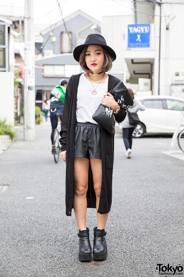 Black & White Harajuku Street Style w/ Leather Shorts, Hat, Clutch & Gyda