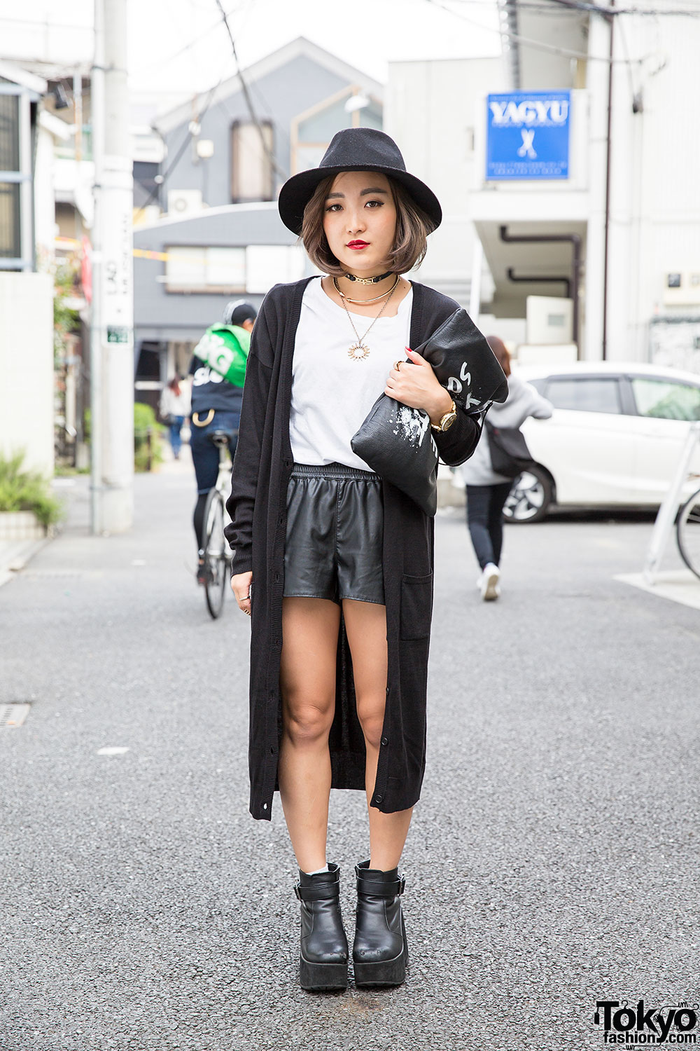 Black White Harajuku Street Style W Leather Shorts Hat Clutch Gyda