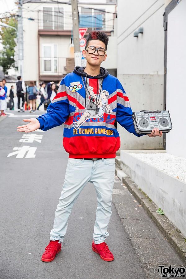 Hi-Top Fade, Boombox Bag, Adidas Olympics Sweatshirt & Sneakers in Harajuku