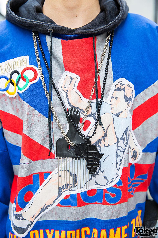 Hi Top Fade, Boombox Bag, Adidas Olympics Sweatshirt
