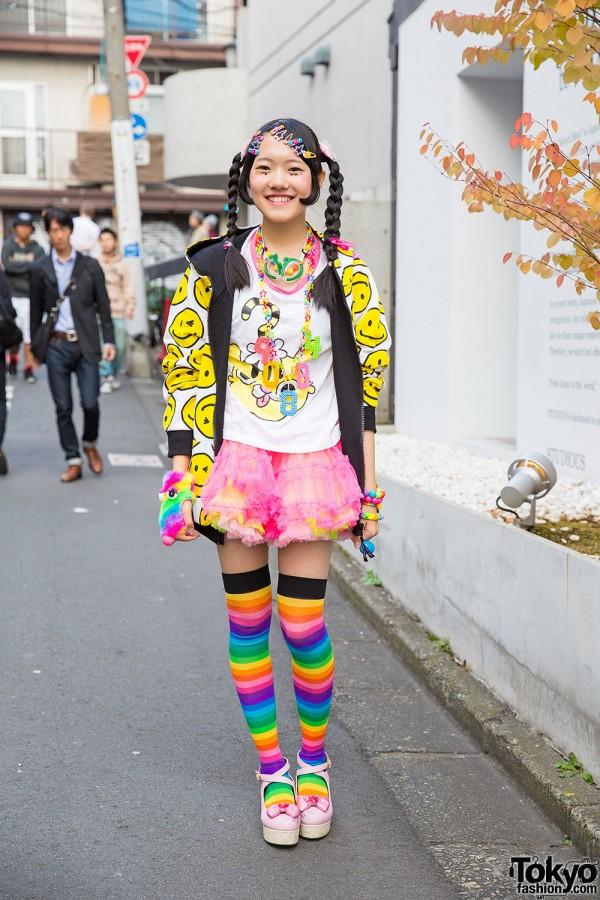 Harajuku Decora Girl in 90884 Top, Super Lovers Jacket & Rainbow Socks